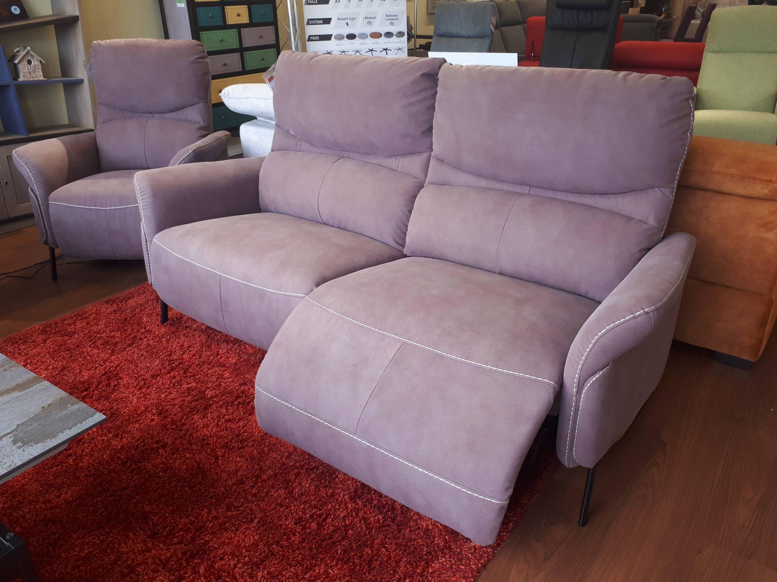 Canapé 3 places 2 relax électriques